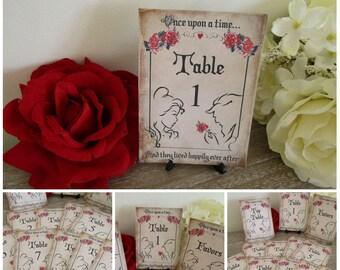 Beauty & The Beast Table Numbers + Top Table Favor Wedding,Fairytale,Princess Wedding