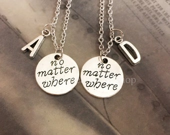 2 No Matter Where, Initial Best Friends Necklaces, Long Distance, graduation gift, going away present, Best friend gift, Freindship gift