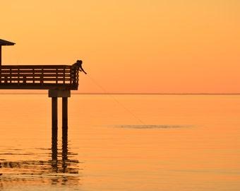 Sunset Photography, The Old Way, Alabama Photography, Fisherman at sunset, Landscape Photography, Fine Art Landscape Photography, Minimalism