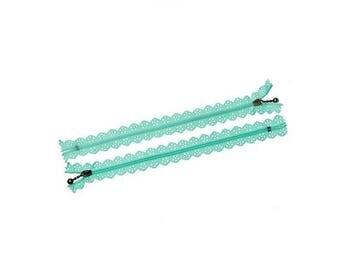 5 20cm color Mint green lace zippers