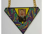 David Bowie necklace ~ one of a kind hand painted and lacquered finish necklace