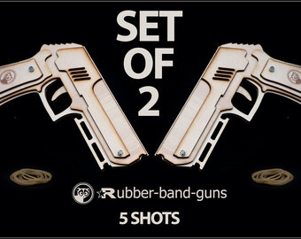 Gift For Him, Set Of 2 Rubberband Guns, Shoots 5 Rubber Bands !  Father And Grandfather Gift, Husband Gift, Great Shooting Gift For Men