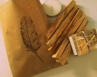 """Palo Santo Kit // Matchbook and Tealight Included // Qty 5 4"""" Sticks // Meditation // Natura Incense // Sustainably Harvested"""