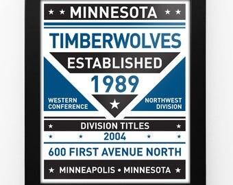 Minnesota Timberwolves Dual Tone Modern Team Print Framed