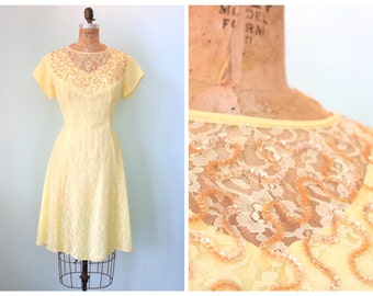 Vintage 1950's Lemon Yellow Lace Party Dress | Size Large