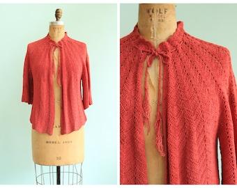 Vintage 1930's Coral Crochet Cardigan | Size Medium