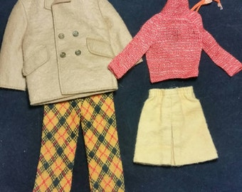 Vintage barbie and ken mod clothing