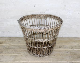 vintage wicker waste basket