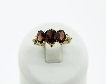 An Impressive Three Stone Garnet Ring  SKU 775