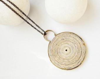 Pendant, paper jewelry, Bohemian pendant, Boho pendant, Boho Jewelry, Boho bronze jewelry, Bronze pendant, Necklace bronze, Recycle jewelry