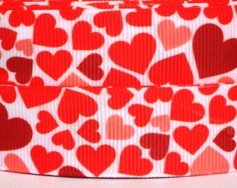 "Red Hearts Grosgrain Ribbon 3 yards - 7/8"" Valentine Ribbon - Valentine's Day Grosgrain Ribbon - Red Hearts Valentine Ribbon"