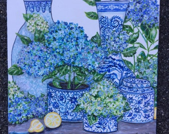 Chinoiserie Hydrangeas orginal painting