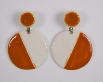 Vintage 1960s Pop Art ceramic pendant disc earrings