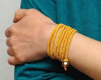 gift for wife Crochet Bracelet Wrap Bracelet Textile bracelet Textile Jewelry Knit bracelet Friendship bracelet Boho bracelet Boho jewelry
