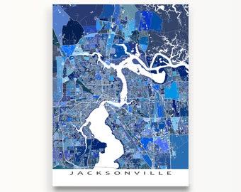 Jacksonville Florida, Jacksonville Map Print, City Art Map Poster