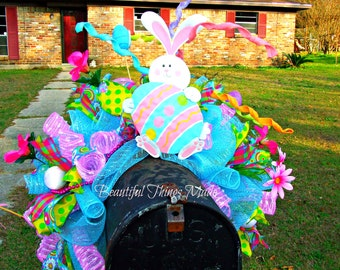 Large Easter mailbox topper, Easter mailbox swag, Easter deco mesh mailbox Decoration, ready to ship