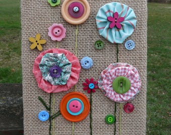 Spring Flowers ~ Fabric & Button Flowers on 6x8 Burlap Canvas ~ Pastels, Brights ~ Spring Wall Decor ~ Made To Order