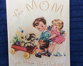 Mom Birthday Card,Vintage Birthday Card For Mom,Vintage Greeting Card,Ephemera,Scrapbook Supplies,Retro Card