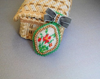 Beadwork brooch Seed bead brooch