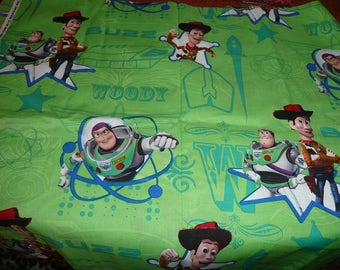 """1/2 Yard x 43""""Buzz And Woody Star Cotton Fabric Remnant"""
