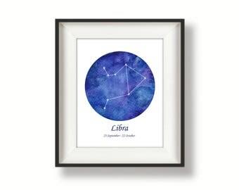 Zodiac - Libra - Constellation - Watercolour Art Print