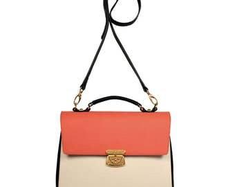 Leather Top Handle Bag, Beige Leather Handbag Top Handle, Women's Leather Bag KF-592