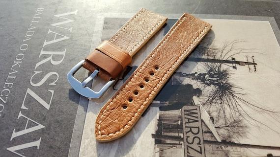 Brown - honey ostrich watch strap. 24/22 mm