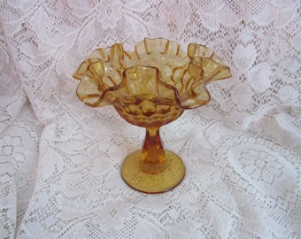 Fenton Amber Thumbprint Compote Candy Dish