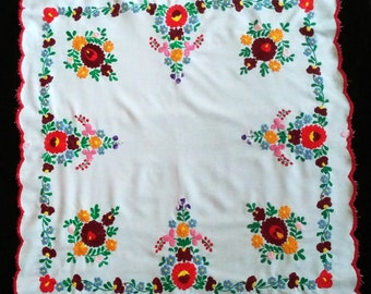 Hungarian Kalocsa Floral Hand Embroidered Square Tablecloth from the 80s