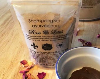 Dry shampoo with ayurvedic plants rose and Lotus Miss Marmite