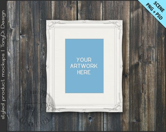 Ornate Frame Mockup | 4 Styled scene | 5x7 | Empty Frame on Wall Styled Mockup W2 | White Black Portrait Landscape Frame | Custom colors