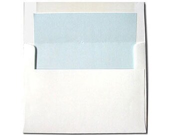 20 White with Light Blue Lined Envelopes - A7 Size
