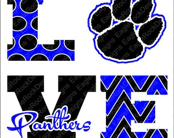 Love Panthers SVG, DXF, EPS, Png, Cut File For Cameo and Cricut, Panthers Svg, Cheer Svg, Instant Download