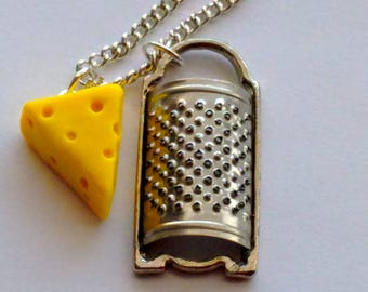 Cheese Wedge and Cheese Grater Necklace - Miniature Food Jewelry - Inedible Jewelry, Swiss Cheese Charm Necklace, Food Charms, Kid's Jewelry