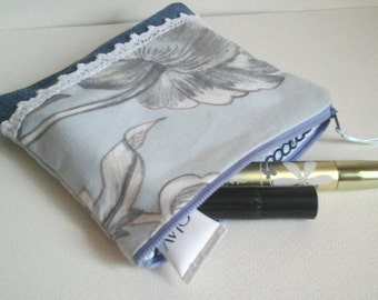 Cosmetic bag, blue linen and blue jeans, zipper, for her, romantic style, Cosmetic Bags,pencil bag,pencil case,zipper pouch,Back to School