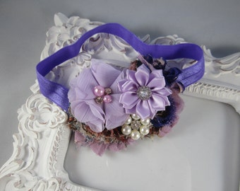 NEW shabby chic stretch vintage inspired purple headband with bling
