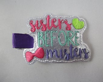 NEW Sisters Before Misters shiny sparkle felt embroidered hair clip