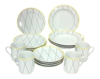 Memphis Design Black, Yellow and White Porcelain Dish Set-16 Pieces