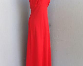 Vintage 1970s Polyester Dress, Red Maxi Dress, Boho, Hostess Dress, Yachting, Resort Wear, Valentines Day