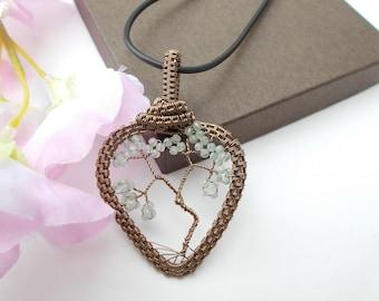 Adventurine pendant , wire wrapped pendant , wire wrapped jewelry , green adventurine , gemstone pendant , tree of life pendant ,heart shape