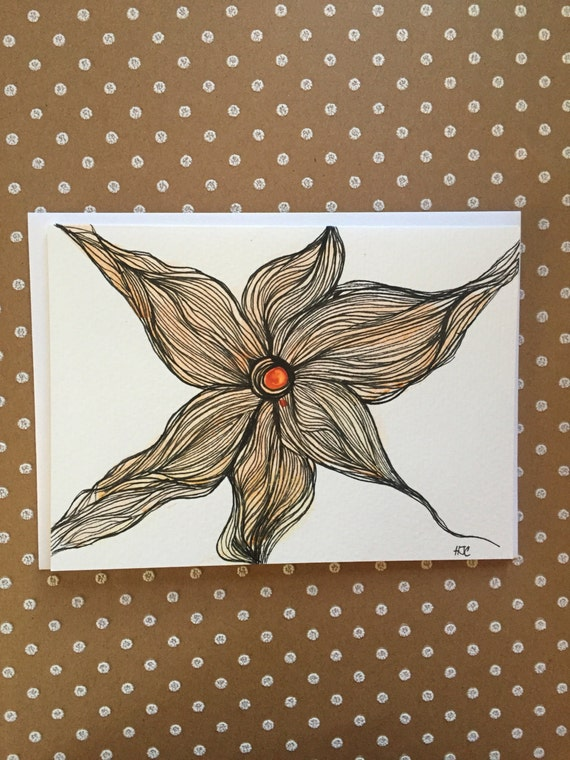 Original Watercolor and Ink Flower Card, Flower Note Card, Flower Ink Card,