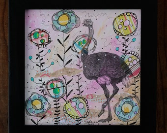 "Keeping My Head Out of the Sand-Framed 6x6"" Mixed Media Collage Painting, ostrich"
