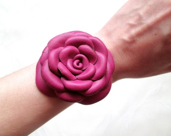 Fuchsia Leather Bracelet Leather Roses Leather Flowers Cuff Bracelet For Woman Gift Idea For Her Leather Jewelry Design
