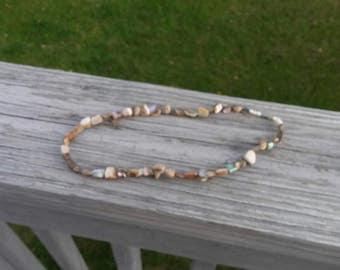 Vintage abalone chunk necklace