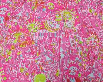 "1 Yard 36"" x 55"" New Lilly Pulitzer Jacquard Cotton Fabric "" Kini In the Keys   """