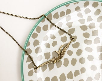 Bronze bird pendant necklace, boho, bohemian