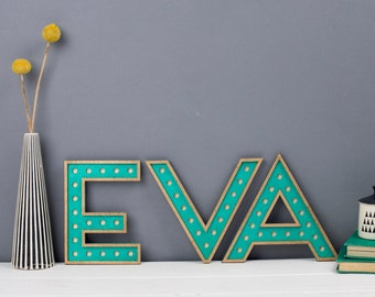 Wooden Letters & Numbers, Circus Alphabet Wood Letters, New Baby Gift, Hand Painted Teal and Gold Wall Letters, Personalised Wedding Name