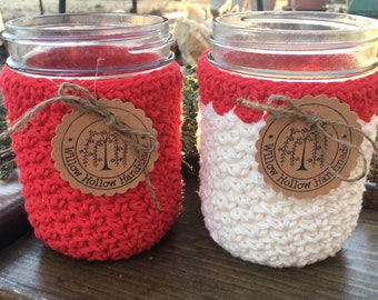 Mason Jar Cozy 100% Cotton in Red and Red and White  Pint Crochet Cotton Mason Jar Cozies