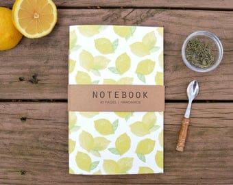 Lemon Pattern Notebook, Journal, Sketchbook, Recipe Book, Diary, Blank Notebook, Stationary, Food Illustration