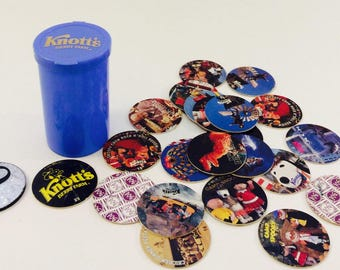 Knotts Berry Farm Official Pogs Peanut Gang Snoopy Charlie Brown 23 Official Pogs 1 Slammer 1994 Set Series with Pog Case Collectors Edition